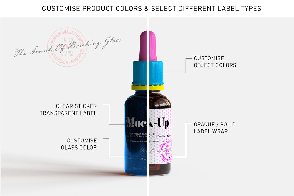 Amber Medical Bottle - Apothecary - CBD Oil Dropper Bottle And Box Mock-Up With Transparent and Opaque Label Art