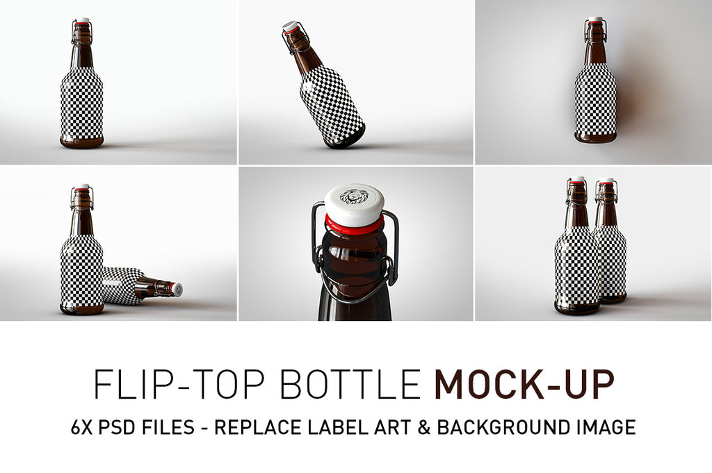 Flip Top Beer Bottle Mock-Up | Sauce Bottle Mock-Up