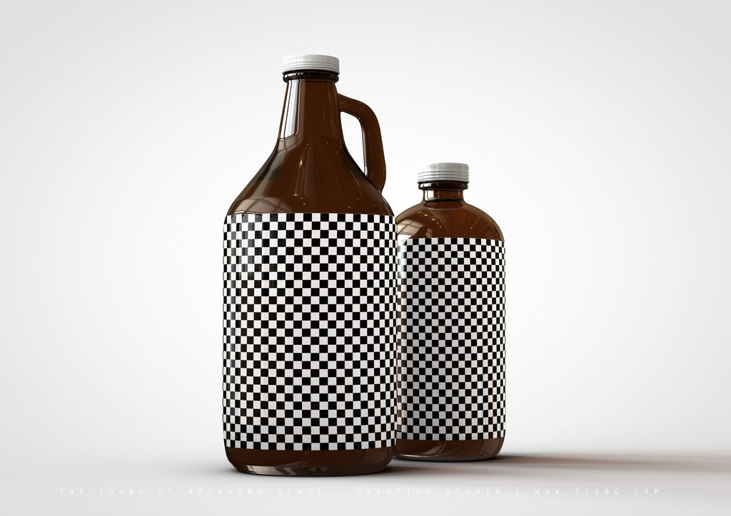 Growler Craft Beer Bottle Jug Mock-Up & Squealer Beer Bottle Mock-Up