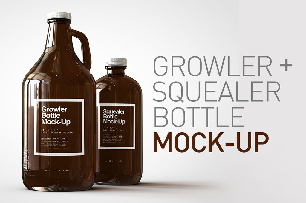 Growler & Squealer Craft Beer Bottle Mock-Up US 64 - 32 Fl Oz