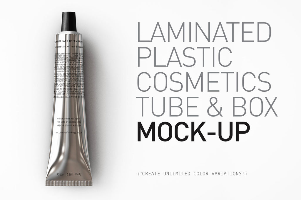 Beauty Packaging - Mock-Up of Aluminium - Metal - Laminated Plastic Cosmetics Tube and Box Mock-Up