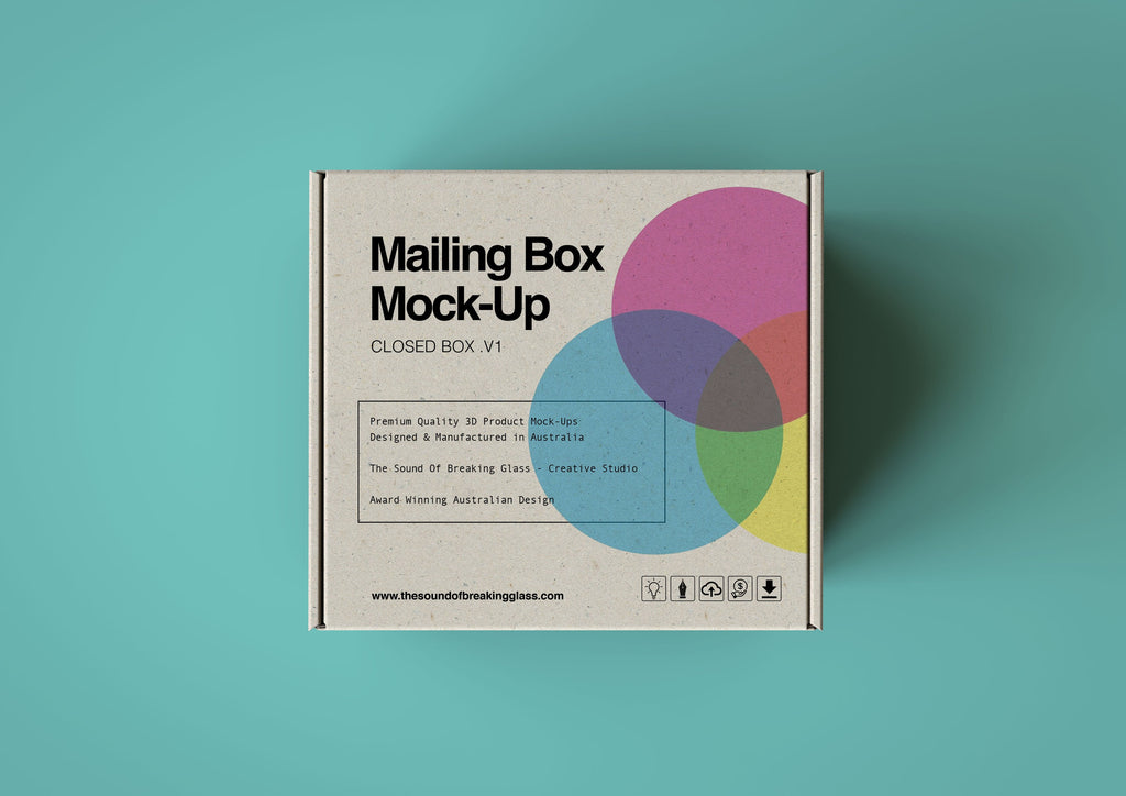 Light Craft Paper Cardboard Mailing | Shipping Box Mock-Up - Cardboard Box sitting on colored Background