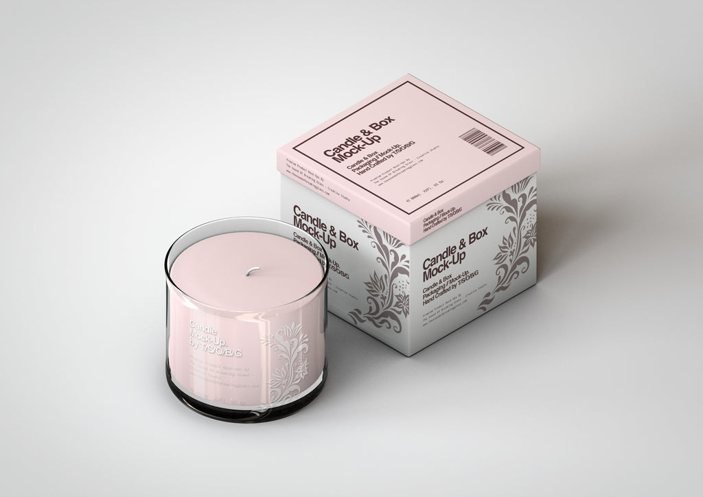 Scented Candle Mock-Up | Glass Candle In Jar & Box Packaging Mock-Up