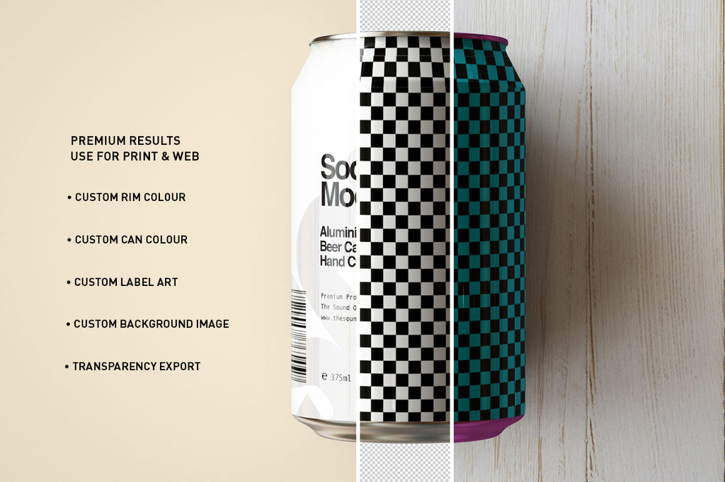 Soda Can | Beer Can Mock-Up | 440ml - 500ml - 14-16 US Fl oz