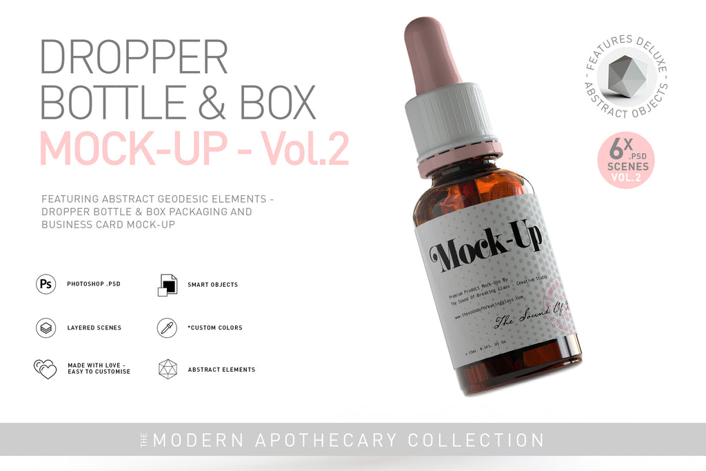 Amber Dropper Bottle & Box Mock-Up - VOL.2