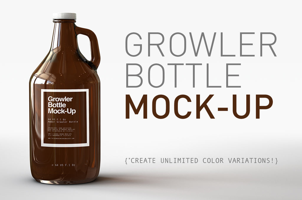 Growler Bottle Mock-Up US 64 Fl Oz | Beer Bottle Mock-Up