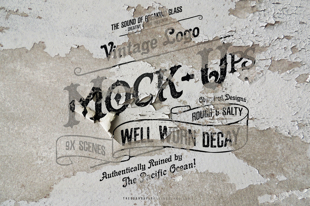 Vintage & Retro Textures - Wall Graphics Logo Mock-Up
