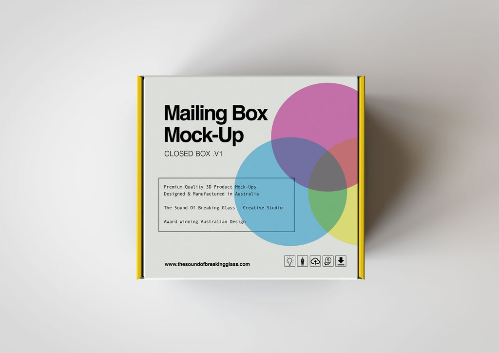 White Smooth Cardboard Mailing | Shipping Box Mock-Up - Cardboard Box sitting on Plain Background