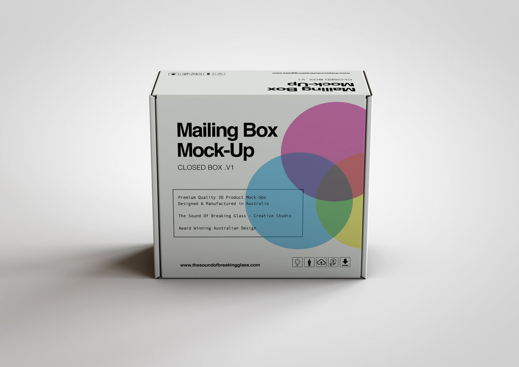 Corrugated White Cardboard Mailing | Shipping Box Mock-Up - Cardboard Box sitting on Plain Background