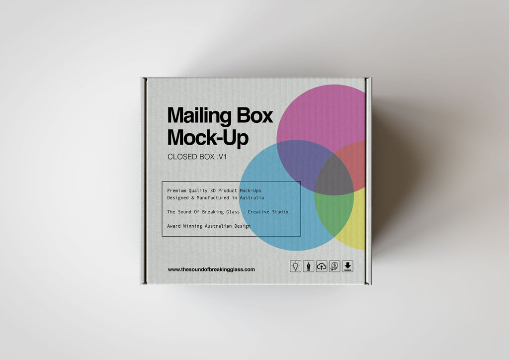 Light Craft Paper Cardboard Mailing | Shipping Box Mock-Up - Cardboard Box sitting on Plain Background