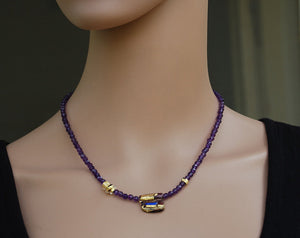 Amethyst Necklace, Semi Precious Stones, Glass and gold beads, Delicate necklace, Designer Necklace, Purple, healing effect, Murano Glass