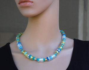 Artisan Lampwork, Glass beads necklace, Silver and gold, Turquoise and blue, Contemporary, 24k gold and silver foil, Colourful, Murano Glass