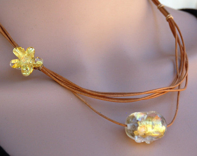 Natural leather strings, Gold, Asymmetrical necklace, Flower bead, Lampwork, Flamework, Designer Necklace, Present for Mum, Murano Glass