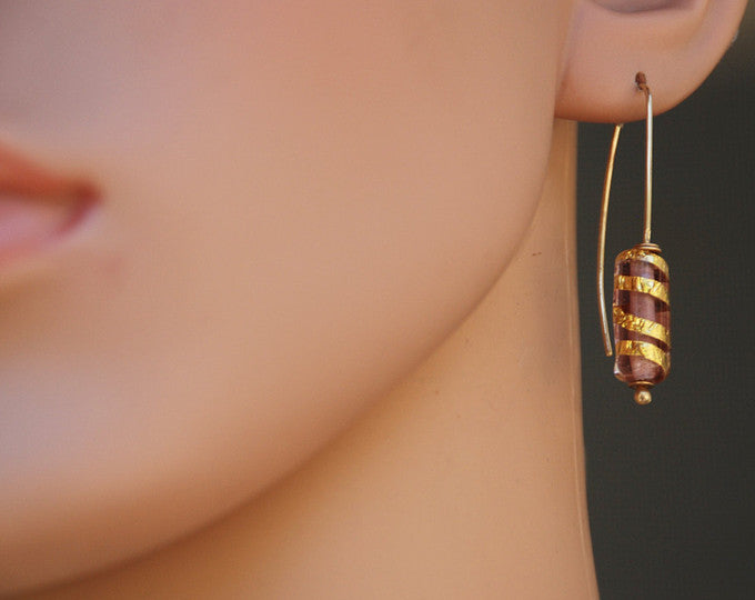Elegant Cylinder Earrings, Violet Earrings, Artisan Lampwork Glass, 14K Gold, Contemporary Glass, Flamework, 24k Gold foil, Murano Glass
