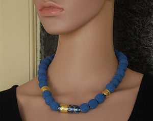 Blue Lava Necklace, Semi Precious Stones, glass and gold beads, Designer Necklace, Fashion Necklace, Blue and Gold, Flamework, Murano Glass