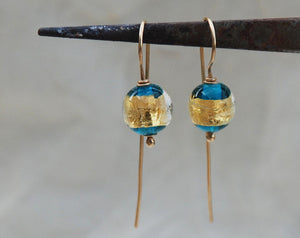 Turquoise earrings, Classic Ball Earrings, 14k gold earrings, 24k gold foil beads, Elegant earrings, Clean design, Famework, Murano Glass