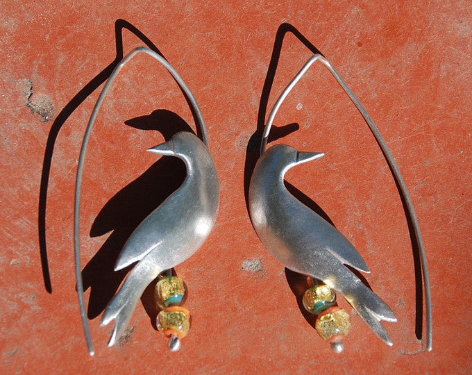 Silver and Glass Dove Birds Earrings, Peace Earrings, Artisan Lampwork Glass Beads Earrings, Flame work, 24k Gold foil, Murano Glass