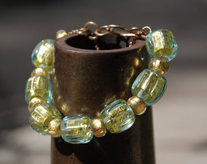 Aquamarine bracelet, Gold beads bracelet, Glass Gold Beads bracelet, lampwork glass, 24k Gold foil, Designer Bracelet, Unique design
