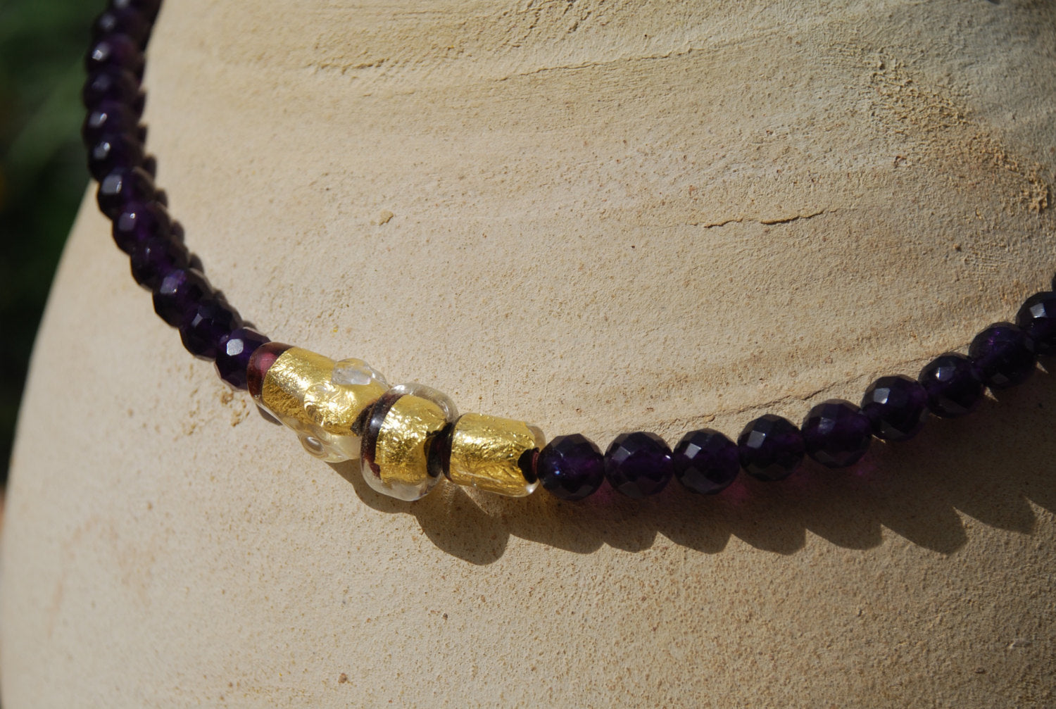 Amethyst Necklace, Semi Precious Stones, glass and gold beads ...