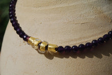Amethyst Necklace, Semi Precious Stones, glass and gold beads, Designer Necklace, fashionable, Purple Necklace, healing effect, Murano Glass