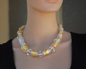 Extraordinary necklace, Gold and silver necklace, Large beads, Lampwork glass beads, Artisan necklace, Flamework, Murano Glass