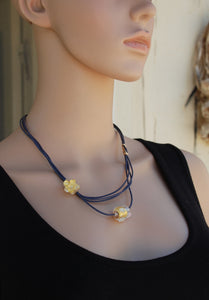 Leather necklace, Violet necklace, Gold beads, Asymmetrical Necklace, Flower Necklace, Lampwork, Purple, Flamework glass, Murano Glass