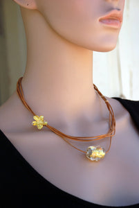 Leather necklace, Natural leather, 24k Gold foil, Asymmetrical Necklace, Gold flower, Lampwork, Flamework, Dichroic beads, Murano Glass