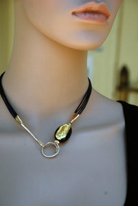 Dark blue necklace, Leather necklace, 24K Gold Murano glass bead, Special clasp, Flamework, Designer necklace