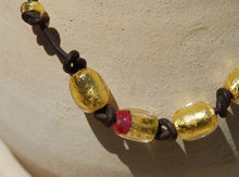 Dark brown leather, Leather necklace, Gold beads necklace, Golden Pink, Cool Necklace, Lampwork glass, Designer Necklace, Murano Glass