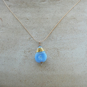 Delicate chain necklace, pendant, Periwinkle, gold, dichroic, artisan necklace,flamework, lampwork glass bead, 14k goldfilled, Murano Glass