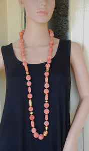Long Necklace, Sponge Coral Necklace, Glass & Gold Necklace, Orange, Pink, Natural Gemstone Jewelry, Meaningful Necklace, Murano Glass