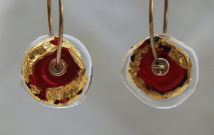 Red Earrings, Gypsy Earrings, Hoop earrings, 14k gold Earrings, Glass lampwork, Glass flamework, Red & Gold, 24k gold foil, Murano Glass