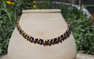 Spiral Necklace, Dark blue & gold necklace, Lampwork glass beads, Artisan necklace, Flamework, 24k gold foil, Present for Mum, Murano Glass