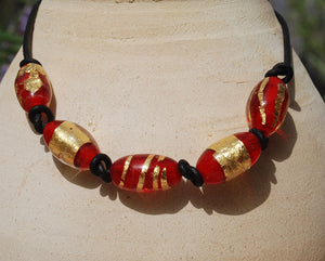 Black leather necklace, Red and Gold beads, Large beads, necklace, Artisan Lampwork glass, Red Necklace, lacework, Designer Necklace, Murano Glass