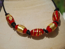 Leather necklace, Black necklace, Red necklace, Gold beads necklace, Artisan Lampwork, Glass beads, Red and gold, Flamework, Murano Glass