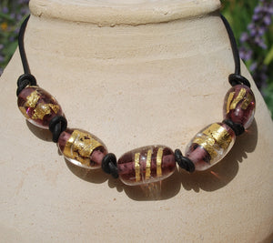 Black leather necklace, Purple necklace, Large beads, Gold beads necklace, Artisan Lampwork, Glass beads, Purple, flamework, Murano Glass