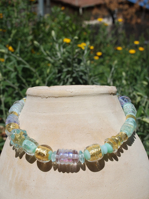 A glowing light pastel turquoise, Gold, Beaded necklace, Lampwork glass beads, artisan, flamework, dichroic, 24k gold foil, Murano Glass
