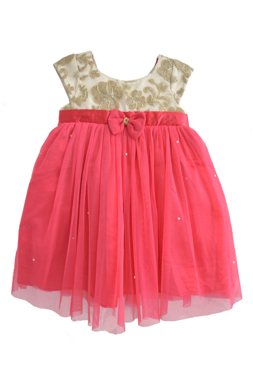 Magenta Baby Frock With Cream and Gold Yoke