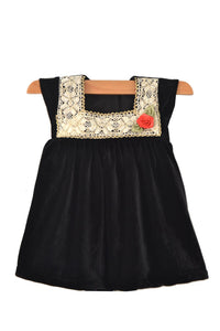 Black Velvet Baby Frock with Crochet Lace
