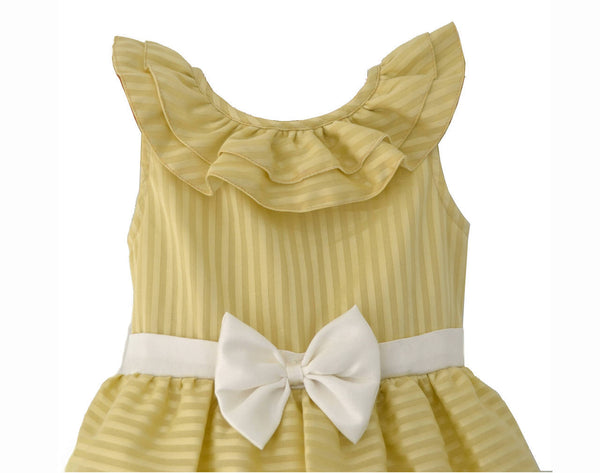 Yellow Striped Bubble Baby Frock