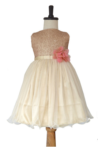 Beige Gold Sequins Flower Girl/Party Wear Frock