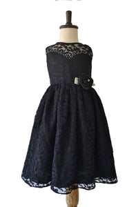 Black Lace Frock with Stone & Bead Sweetheart Neckline
