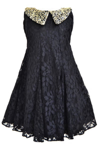 Girls Black A line Dress with Antique Gold Collar