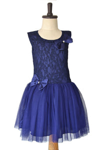 Navy Blue Lowwaist Lace & Tulle Dress