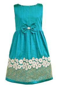 Girls Greenish Blue Raw Silk Party Dress