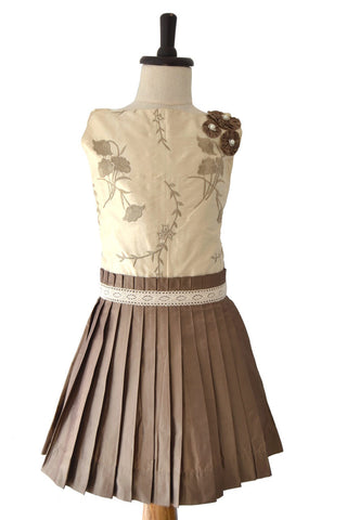 Girls Brownish Grey Silk Party Dress