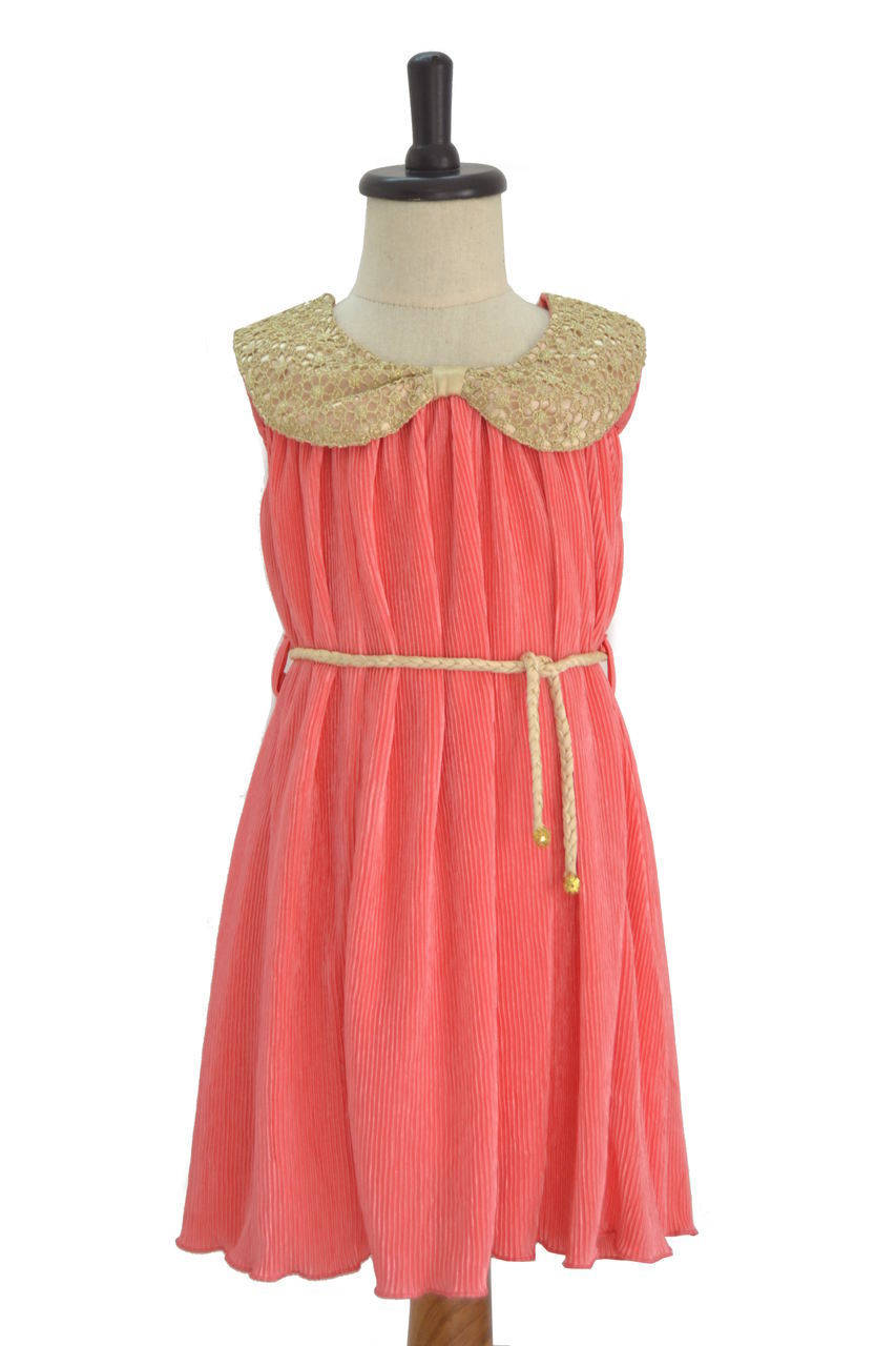 Crush Pink Aline Frock with Braided Waistband