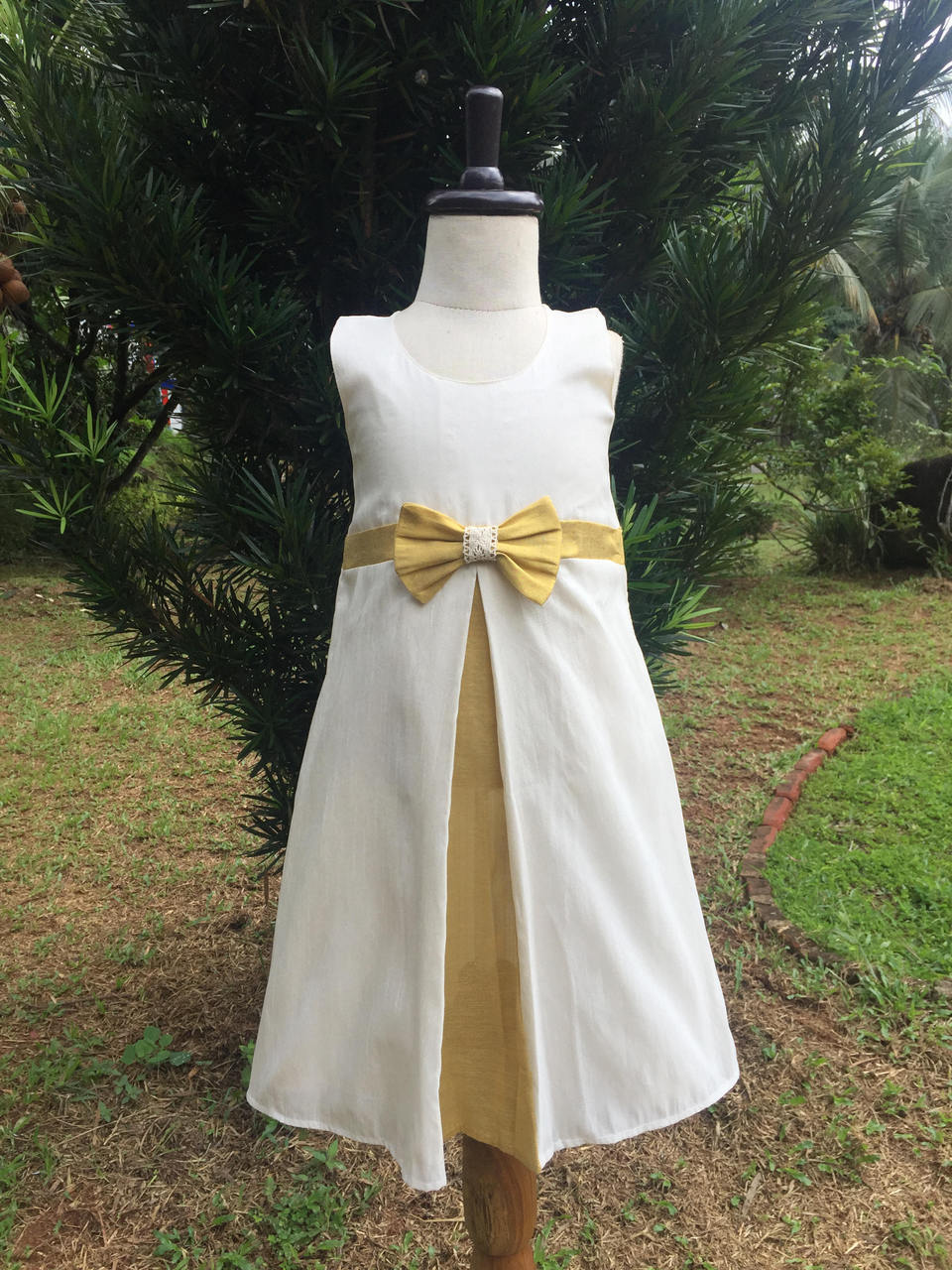 Empire Cut Gold White Aline Frock