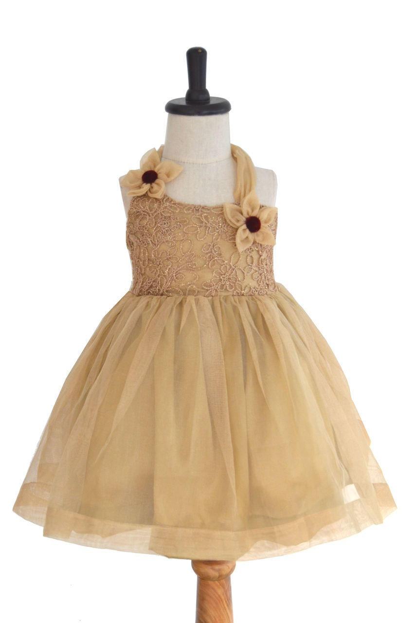 Gold Tissuenet Frock with Halterneck
