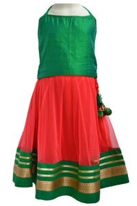 Girls Parrot Green and Carrot Red Lacha